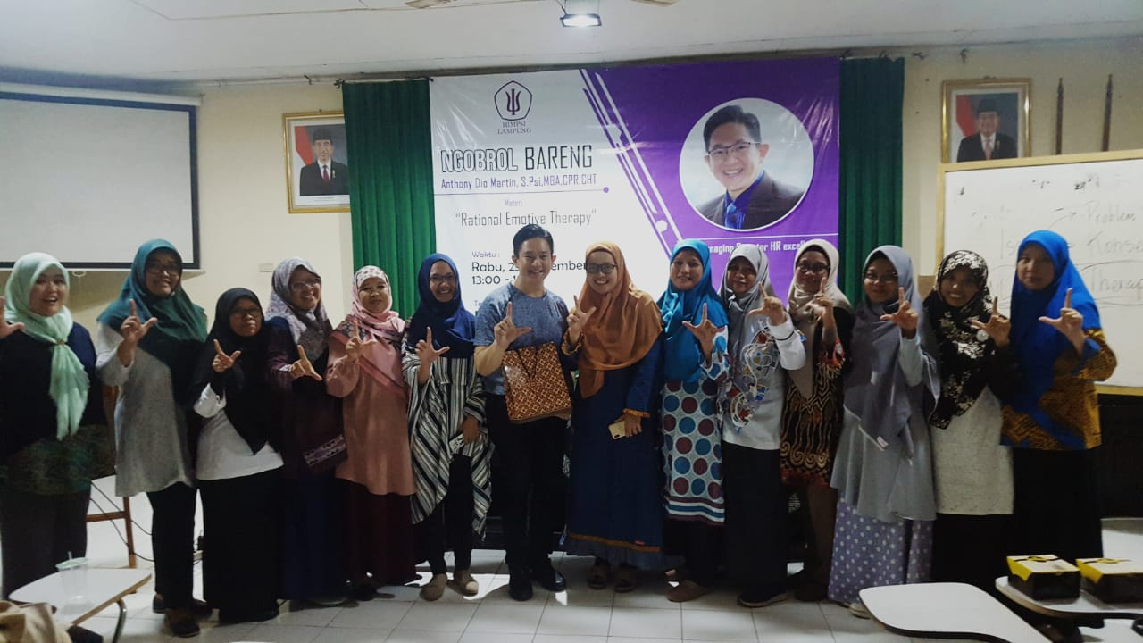 """Ngobrol Bareng """"Aplikasi Rational Emotive Therapy"""" Himpsi (Himpunan Psikolog Seluruh Indonesia) Cabang Lampung, 25 September 2019."""